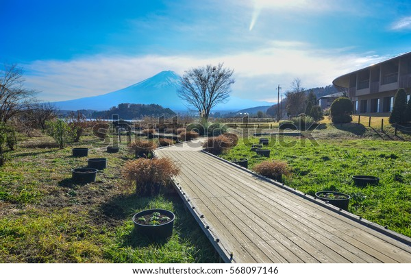 Landscape of Kawaguchiko Township with wooden road in Yamanashi Prefecture, Japan.