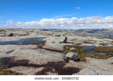Landscape of Kjerag mountain, a famous hike in Norway