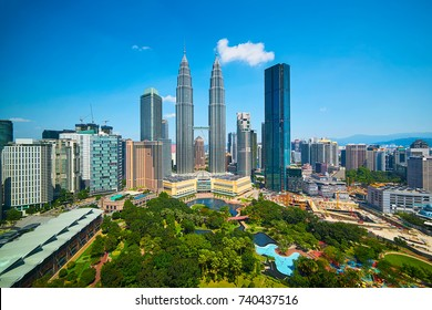 Landscape of Kuala lumpur skyline, cleary blue and little white cloud sky , Malaysia .