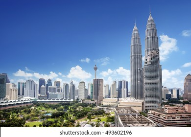 Landscape of  Kuala lumpur skyline, Malaysia lovely blue sky