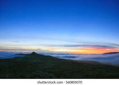Landscape of La Reunion island, above the sea of clouds, French oversea department, Indian Ocean