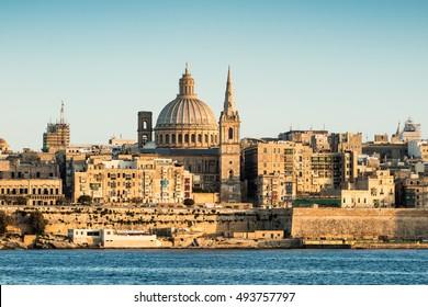 Landscape of La Valetta in sunlight with clear sky. Malta.
