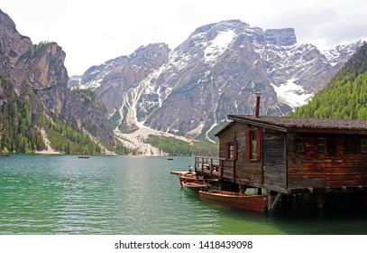 Landscape of Lago di Braies, lake in Italy