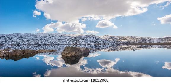 Landscape of Lagoa Comprida, a Lake in the Serra da Estrela National Park, on a Snowy Winter Day in Portugal