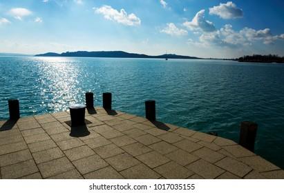 Landscape of Lake Balaton at Balatonfured, Hungary