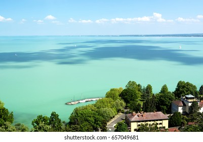 Landscape of Lake Balaton from Tihany peninsula, Hungary