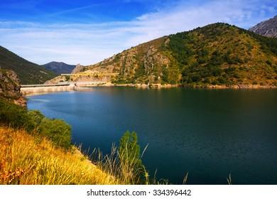 landscape with lake. Barrios de Luna reservoir with dam. Leon,  Spain