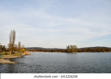 landscape with lake and blue sky, photo as a background