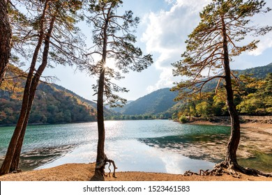 Landscape of Lake Boraboy, Borabay or Kocabey. The lake is in Tasova district of Amasya Province, Turkey. It is situated to the west of the town Borabay.