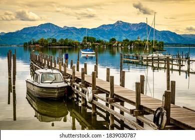 landscape at lake chiemsee - bavaria - gstadt