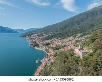 Landscape, Lake of Como. Aerial photo
