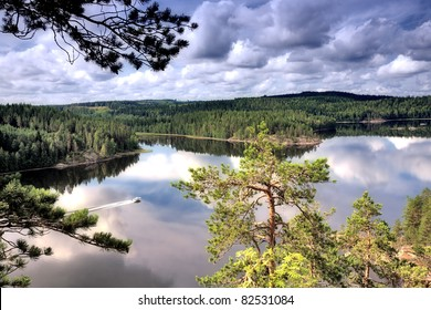 landscape of the lake in Finland