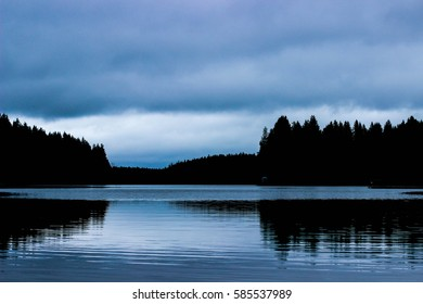 landscape, the lake and forest, twilight in the woods, blue sky and lake, forest reflection in water, twilight on the lake