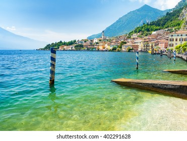 landscape of Lake Garda with town Limone sul Garda