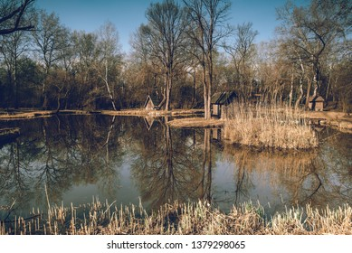 Landscape at the lake, Hungary, Sződliget - fishing lake