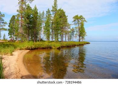 landscape at lake inari in finland, europe