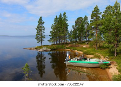 landscape at lake inari in finland, europe