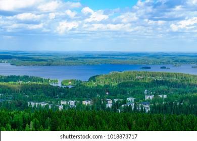 Landscape of Lake Kallavesi and Kuopio region, Finland