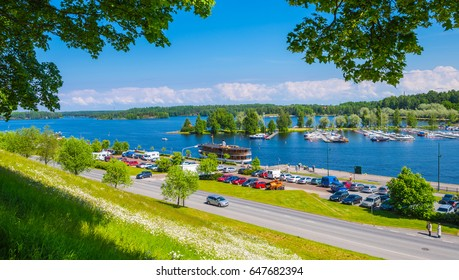 Landscape of the lake in the Lappeenranta city. Saimaa (saima) lake system, Finland.