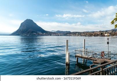 Landscape of Lake Lugano with Monte San Salvatore, Lugano, Switzerland
