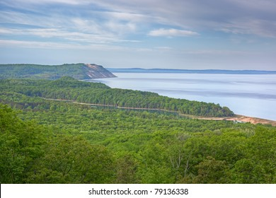 Landscape of the Lake Michigan shoreline with fog and North Bar Lake, Sleeping Bear Dunes National Lakeshore, Lake Michigan, Michigan, USA