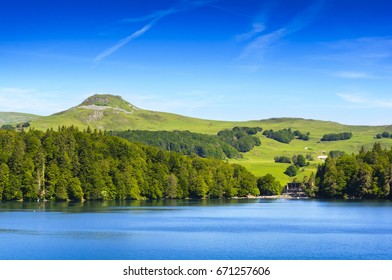Landscape of Lake Pavin in Auvergne during a beautiful day, France