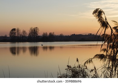 landscape lake at sunset