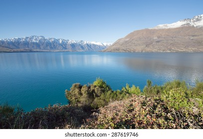 Landscape of lake Wakatipu near Glenorchy in the south Island, New Zealand.