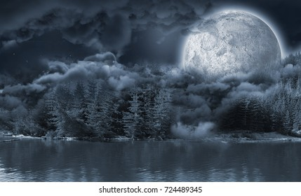 Landscape of lakefront hiding the moon