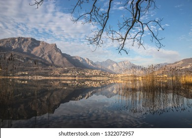 Landscape of the lakes of Brianza (Italy) with a view on the Lombardy pre-Alps