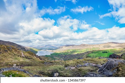 Landscape  with a lakes in Gleninchaquin park. Kenmare, County Kerry, ireland