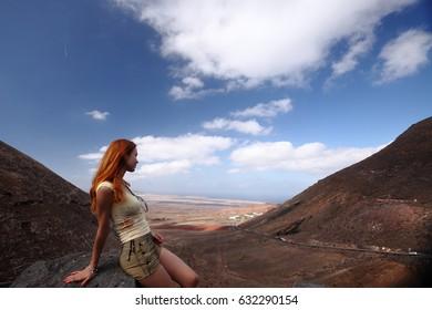 landscape, Lanzarote, Canary Islands view between hills