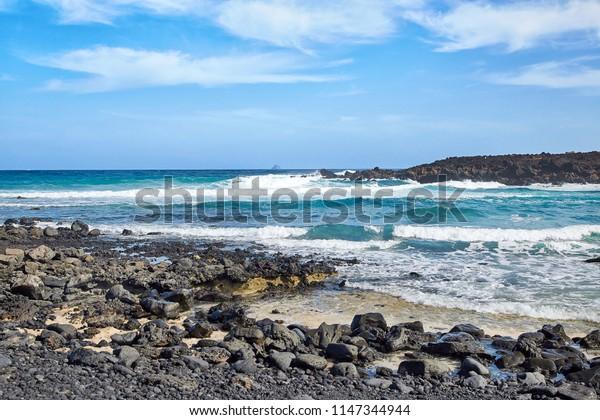 Landscape of Lanzarote Island, Canaries, Spain