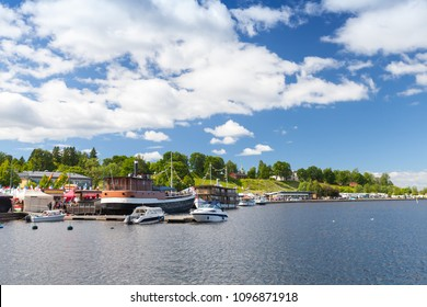 Landscape of Lappeenranta harbour in summer day, Finland