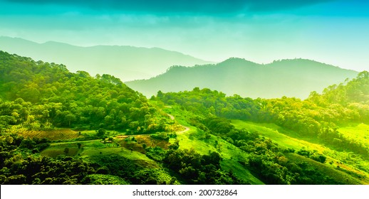 landscape of layer mountain, Chiang rai,Thailand
