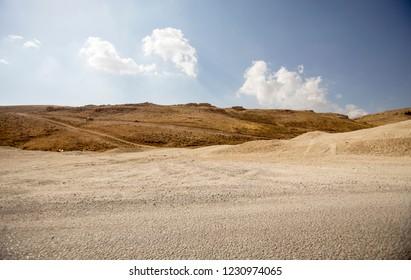 Landscape of Lebanon. Dirt road in the Bekaa Valley in Lebanon