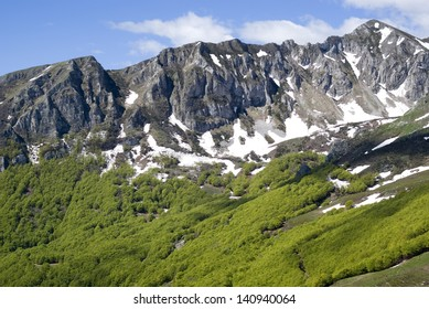 Landscape from Ligurian mountains part of Italian Alps