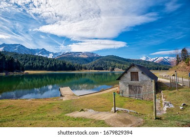 Landscape of little house and beautiful lake