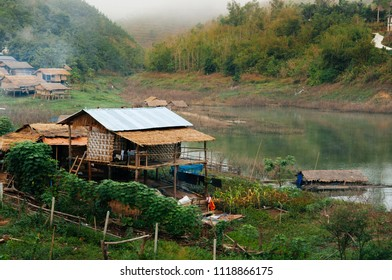 Landscape of local village and bamboo cottage in mountain in Sangkhlaburi, Kanchanaburi, Thailand