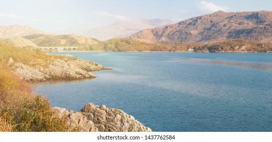 Landscape at Loch nan Uamh near Prince's Cairn Lochaber Highlands Scotland