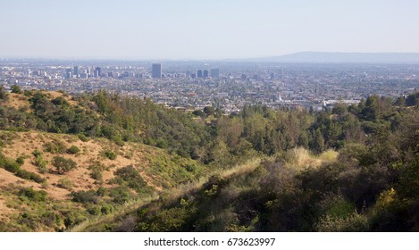 Landscape of Los Angeles California as seen from Griffiths park.