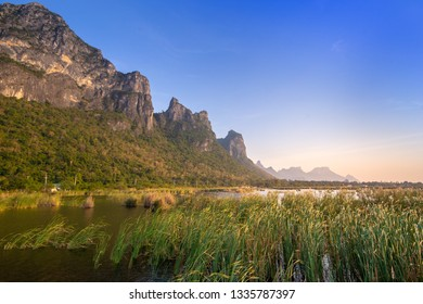Landscape with lotus pond on mountain background at Prachuap Khiri Khan,Thailand.