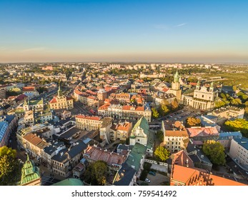 Landscape of Lublin from the bird's eye view of the Cathedral, Trinitarian tower, Cracow Gate and City Hall.