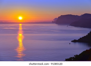 Landscape of Majorca coast at sunrise