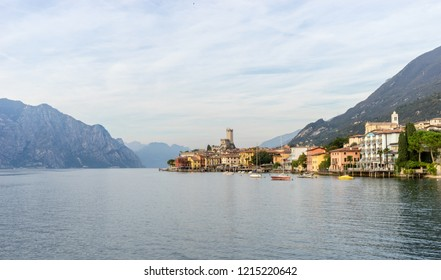Landscape with Malcesine at Lake Garda  in Italy