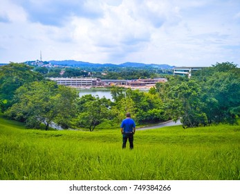 Landscape of a man standing in the grass and look forward