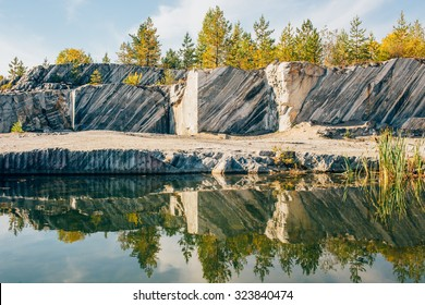 landscape with marble quarry in ruskeala, karelia, russia