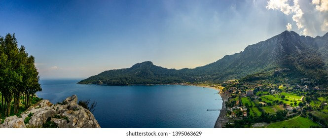 Landscape of Marmaris Kumlubuk beach from Amos Ancient city. Beauty in nature. Marmaris, Mugla, Turkey. Holiday and summer background. Lycian way.
