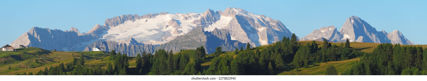 Landscape to the Marmolada and its glaciers during the summer