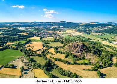 Landscape of the Massif Central near Le Puy-en-Velay. A highland region in France